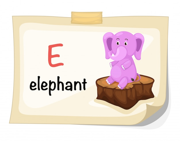 Lettre e de l'alphabet animal pour vecteur d'illustration éléphant