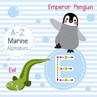 Lettre e alphabet de la mer