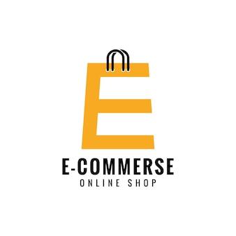 Lettre e boutique en ligne logo design vecteur