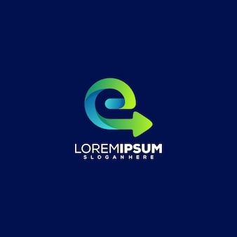 Lettre e avec création de logo de flèche