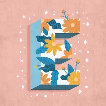 Lettre e créative avec fleurs et feuilles