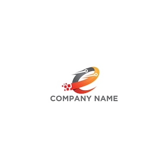 Lettre e digital technology logo design