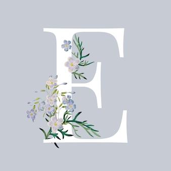 Lettre e avec des fleurs