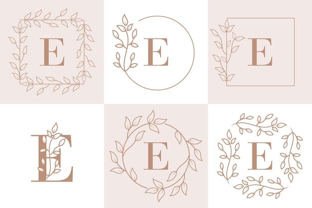 Lettre e initiale avec modèle de cadre floral