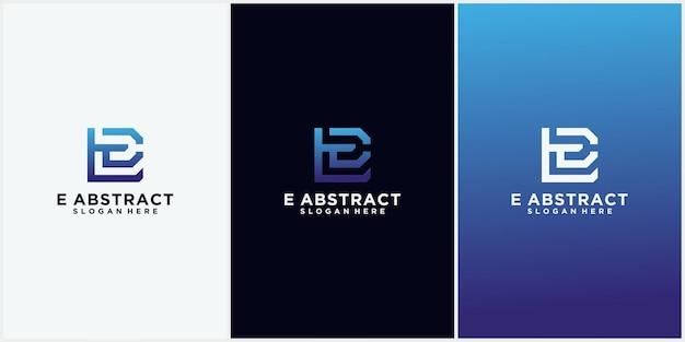 La lettre e logo forme carrée avec dégradé de couleur numérique logo de la technologie abstraite la lettre e
