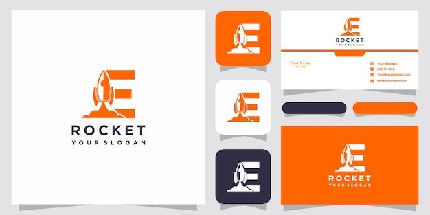 Lettre e avec modèle de logo de fusée abstraite de luxe