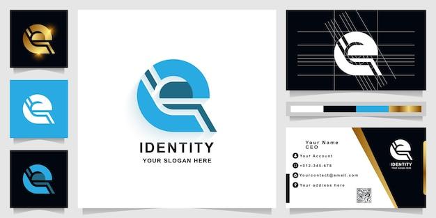 Lettre e ou modèle de logo monogramme avec conception de carte de visite