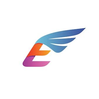 Lettre e wing logo vecteur