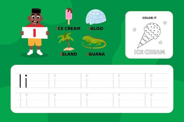 Lettre éducative i feuille de travail avec illustrations