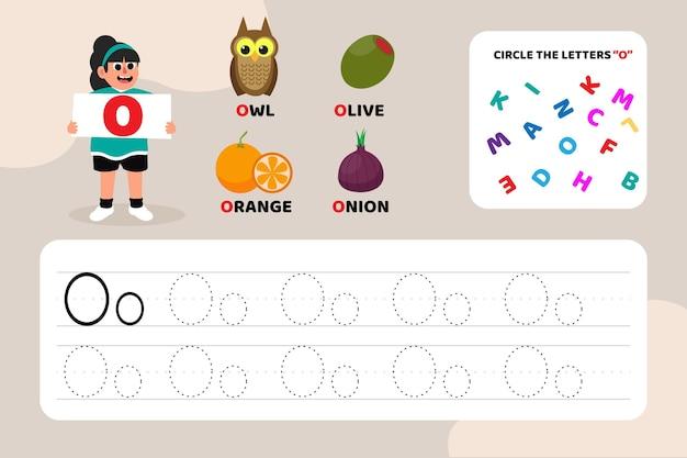 Lettre éducative o feuille de travail avec illustrations