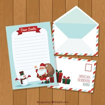 Lettre et enveloppes avec le père noël et un bonhomme de neige