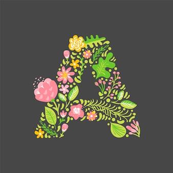 Lettre d'été floral a. capitale de mariage majuscule.