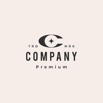 C lettre étoile hipster logo vintage