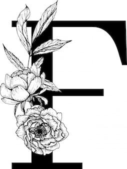 Lettre F, Alphabet Floral Vecteur Premium