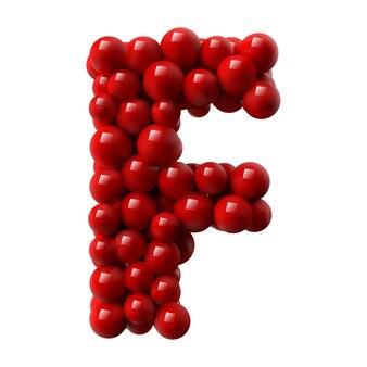 Lettre f avec des boules brillantes de couleur rouge. illustration réaliste.