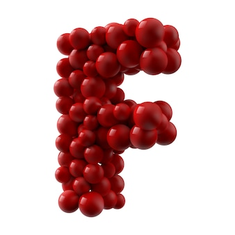 Lettre f avec des boules brillantes de couleur rouge, vue latérale. illustration réaliste.