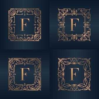 Lettre f avec cadre floral d'ornement de luxe