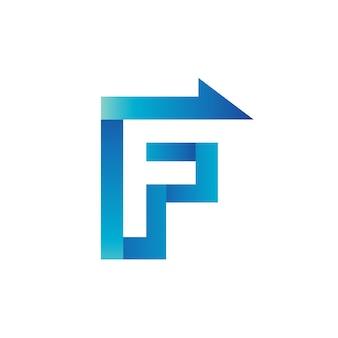 Lettre f flèche logo vecteur