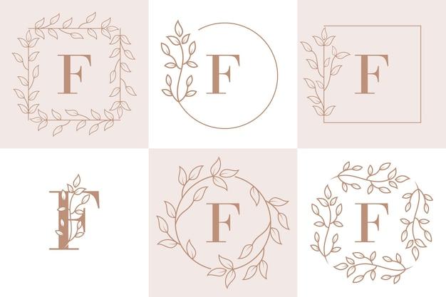 Lettre f initiale avec modèle de cadre floral