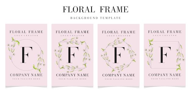 Lettre f logo avec ensemble cadre floral