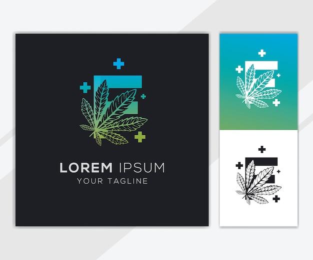 Lettre f avec modèle de logo de cannabis abstrait