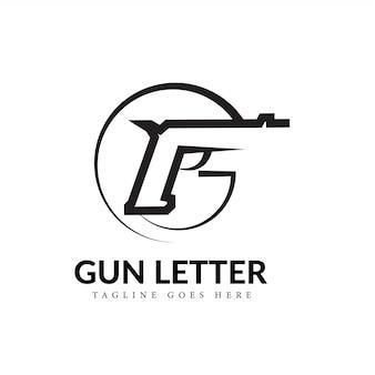 Lettre f noir et blanc décrivant un concept de logo gun line art
