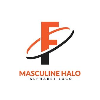 Lettre f orange et noir anneau géométrique masculin logo vector illustration icône