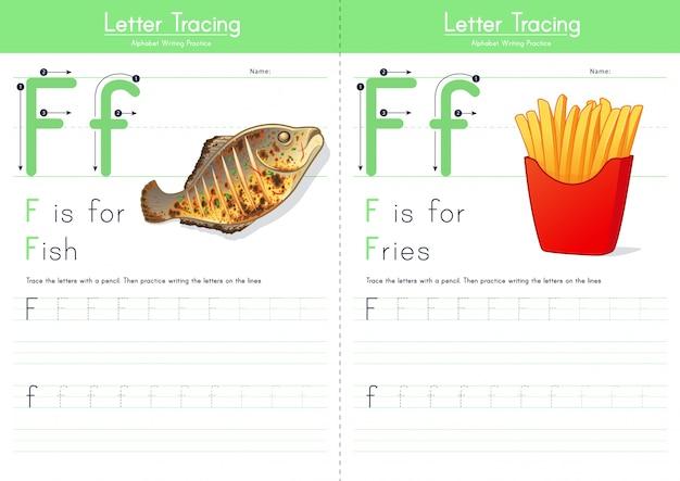 Lettre f traçant l'alphabet alimentaire