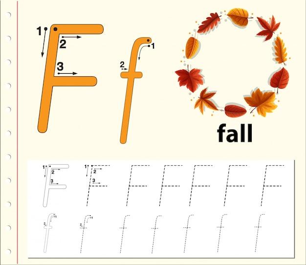 Lettre f traçant les feuilles de l'alphabet