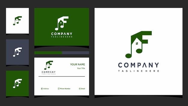 Lettre f vecteur de conception de logo de musique vecteur premium