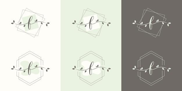 Lettre féminine b avec modèle de logo de cadre floral