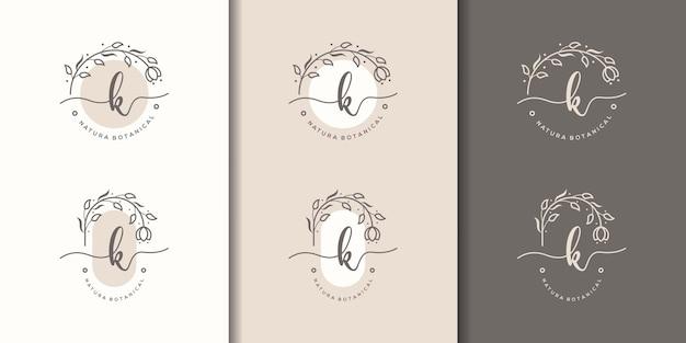 Lettre féminine k avec modèle de logo de cadre floral