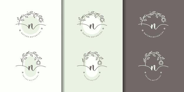 Lettre féminine n avec modèle de logo de cadre floral