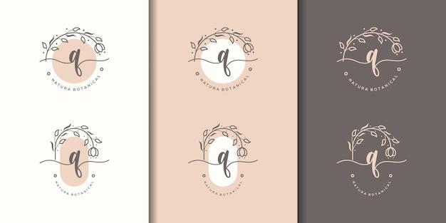 Lettre féminine q avec modèle de logo de cadre floral