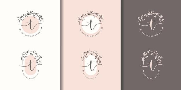 Lettre féminine t avec modèle de logo de cadre floral