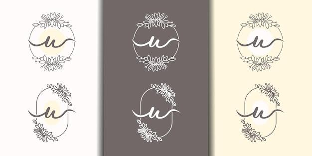 Lettre féminine u avec modèle de logo de cadre floral