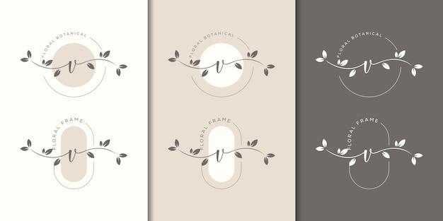 Lettre féminine v avec modèle de logo de cadre floral