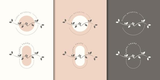Lettre féminine w avec modèle de logo cadre floral