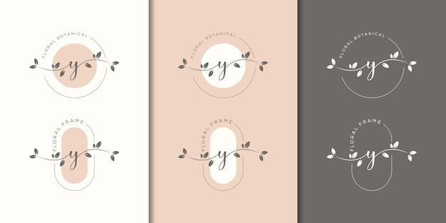 Lettre féminine y avec modèle de logo de cadre floral