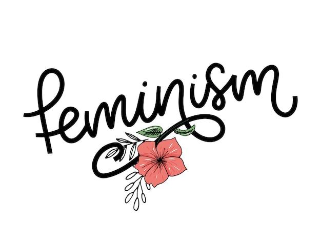 Lettre de féminisme dans un style doodle.
