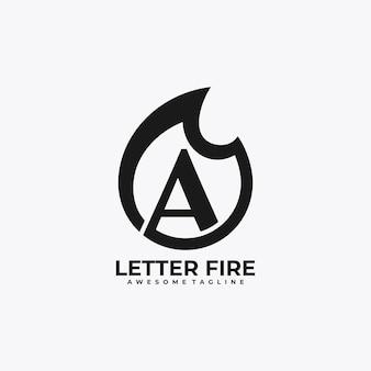 Lettre feu logo design vecteur plat couleur