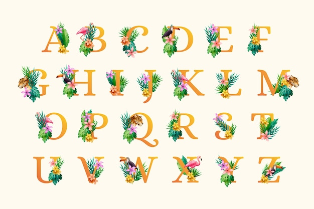 Lettre avec feuilles et fleurs