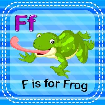 Lettre de flashcard f est pour la grenouille