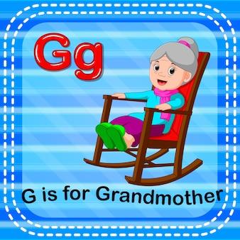 Lettre flashcard g est pour grand-mère