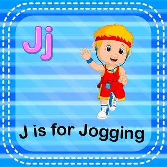 Lettre flashcard j est pour le jogging