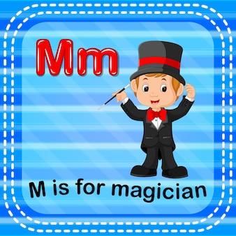 Lettre flashcard m est pour magicien