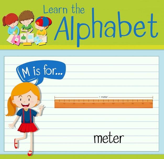 La lettre flashcard m est pour le mètre