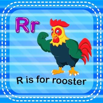 Lettre de flashcard r est pour le coq