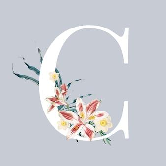 Lettre c avec des fleurs