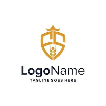 Lettre fs bouclier avec couronne et grain simple design de logo moderne géométrique créatif élégant